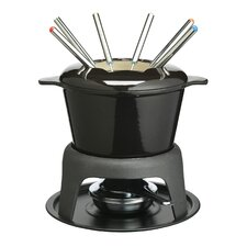 Master Class Cast Iron Enameled Fondue Gift Set in Black