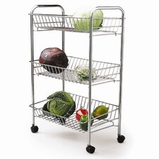 Chrome Plated Three Tier Trolley