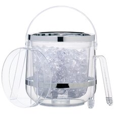 Bar Craft Acrylic Double Walled Insulated Ice Bucket with Lid & Tongs