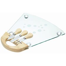 Master Class Glass Cheese Serving Set with Board and Three Servers