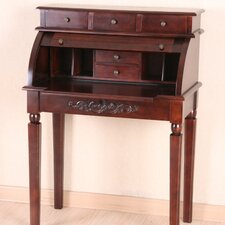 Carved Wood Roll Top Desk