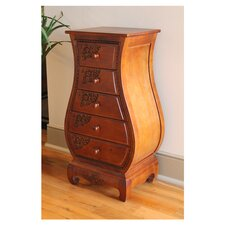 Windsor 5-Drawer Hand Carved Bombay Chest