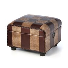 International Caravan Faux Leather Ottoman Stool