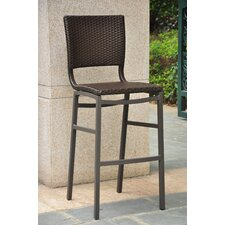 Barcelona Aluminum Wicker Resin Bar Height Bar Stool (Set of 2)
