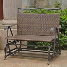 Valencia Iron Wicker Resin Patio Glider Chair