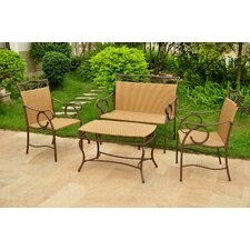Valencia Wicker Resin Steel 4 Piece Lounge Seating Group