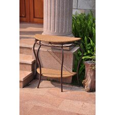 Valencia Half Moon Wicker Resin 2-Tier Patio Table