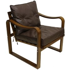 Stockholm Faux Leather Contemporary Slatted Back Chair with Cushions