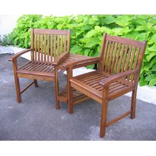 Highland Acacia Double Corner Patio Chair