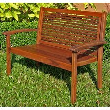 International Caravan Slatted Acacia Outdoor Garden Bench