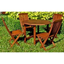 Highland 5-Piece Acacia Patio Complete Dining Set