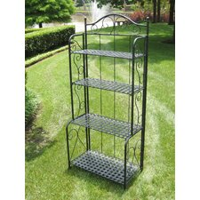 International Caravan Mandalay Wrought Iron Folding Bakers Rack