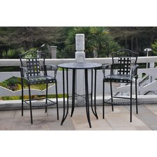 Mandalay 3-Piece Wrought Iron Bar Heigh Bistro Patio Set