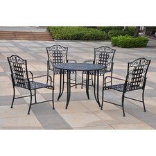 International Caravan Mandalay 5-Piece Wrought Iron Patio Set