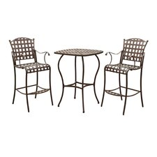 <strong>International Caravan</strong> Santa Fe 3-Piece Wrought Iron Bar-Height Patio Set