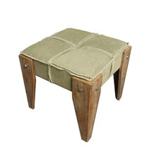 Rustic Elegance Ottoman with Cushion