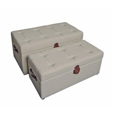 Seville Upholstered Storage Bedroom Bench (Set of 2)