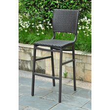 <strong>International Caravan</strong> Barcelona Aluminum Wicker Resin Bar Height Bar Stool (Set of 2)