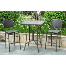 <strong>International Caravan</strong> Barcelona Wicker Resin Bar Height Bistro Set (Set of 3)