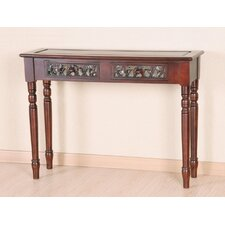 Windsor Hand Carved Wood 2-Drawer Indoor Console Table