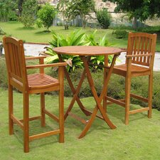 Royal Tahiti Terrassa Bar-Height Patio Bistro Set (Set of 3)