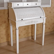 International Caravan Antique White Hand Caved Roll-Top Desk