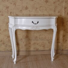 <strong>International Caravan</strong> Hand Carved Antique White Console Table