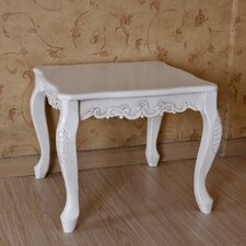 International Caravan Antique White Hand Carved End Table