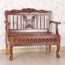 Victorian Wood Storage Entryway Bench
