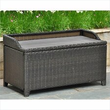 International Caravan Barcelona Wicker Resin/Aluminum Outdoor Storage Trunk Bench