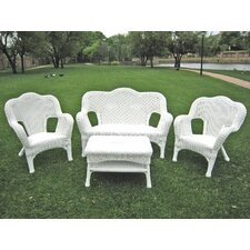 <strong>International Caravan</strong> Monaco 4-Piece Wicker Resin Outdoor Settee Group