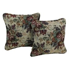 Floral Tapestry Pillow with Removable Insert (Set of 2)