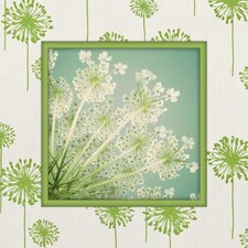Dandelion Graphic Art on Canvas in Green and White