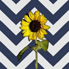 Sunflower Over Newsprint Graphic Art on Canvas in Multi