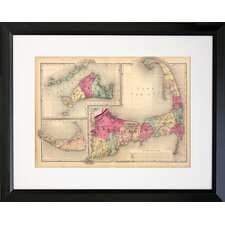 Cape Cod Map Photographic Print Framed Graphic Art