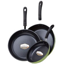 3-Piece Green Earth Frying Pan Set