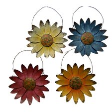 Tin Hanging Daisies Wall Decor (Set of 4)