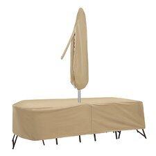 Oval or Rectangular Table and Chair Cover with Umbrella Hole