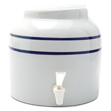 2.5 Gal Stripe Porcelain Water Dispenser Crock
