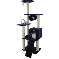 "71"" Classic Cat Tree in Navy Blue"