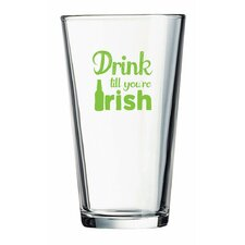 "Pint ""Drink till you're Irish"" Green Design Glass (Set of 4)"