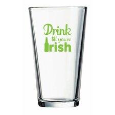 """Pint """"Drink till you're Irish"""" Green Design Glass (Set of 4)"""
