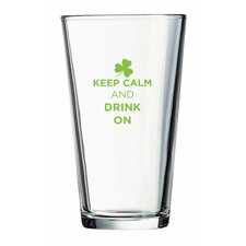 "Pint ""Keep Calm and Drink On"" Green Design Glass (Set of 4)"