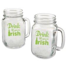 "Mason ""Drink till you're Irish"" Green Design Mug (Set of 4)"