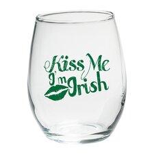 """Kiss Me I'm Irish"" Green Design Stemless Wine Glass (Set of 4)"