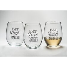 """Eat, Drink and Be Married"" Stemless Wine Glass (Set of 12)"