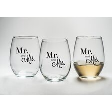 """Mr. and Mrs."" Stemless Wine Glass (Set of 12)"