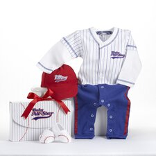 "<strong>Baby Aspen</strong> ""Big Dreamzzz"" Baby Baseball 3 Piece Layette Set"