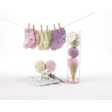 "<strong>Baby Aspen</strong> ""Sweet Feet"" Three Scoops of Socks Gift Set in Pink"