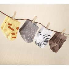 ''Sock Safari'' 4-Pair Animal Themed Sock Set